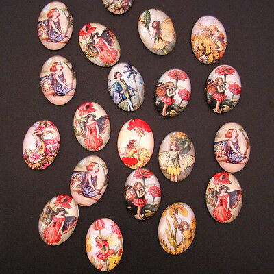 15 GLAS CABOCHONS Glascabochons FEEN Fee MIX 18 x 25 mm - p00113x7