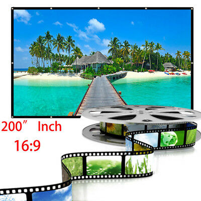 """200""""16:9 Home Movie Electric Projection Screen Matte White Pull Down Projector T"""