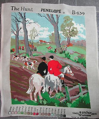Coates Anchor Completed Tapestry THE HUNT - Fox Hunt Hounds Scene needs framing.