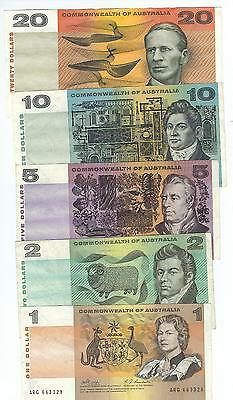 Commonwealth of Australia - COMPLETE Set of Notes ($20, $10, $5, $2, & $1)