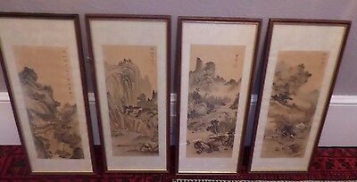 Antique Japanese Hand Painted Landscape Paintings x 4 - All Signed