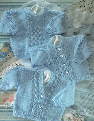 Baby Cardigans & Sweaters Knitting Pattern Copy Cable like Design 8 Ply jumper