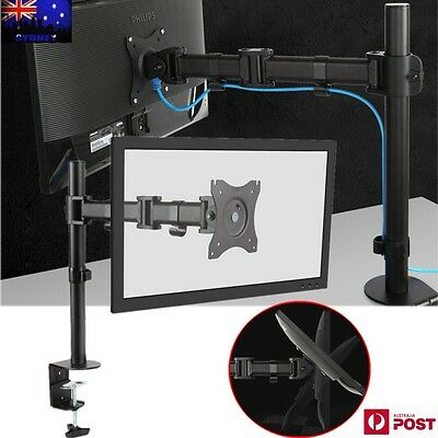 "Single Arm Desk Mount LCD LED Computer Monitor Bracket Stand 13""-27"" Screen TV"