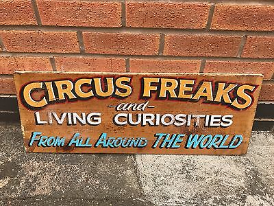 Vintage Wooden Circus Sign Circus Freaks Living Curiosities Fantastic Graphics