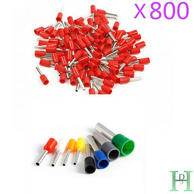 800X Wire Copper Crimp Connector Terminal Cable Cord Pin End Bootlace Ferrule