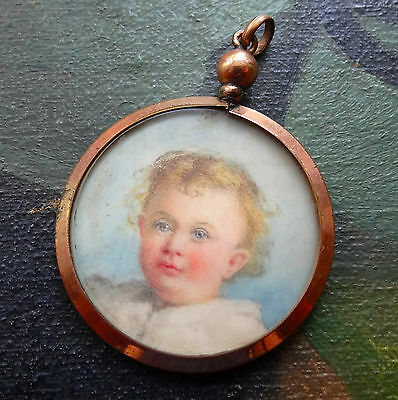 antique Edwardian rolled GOLD child portrait double photo locket pendant -C695