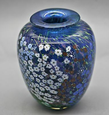 Magnificent  1993 Peter Raos Monet Summer Collection Art Glass Vase Signed