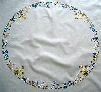 Vintage Hand Embroidered Ring of Garden Flowers White Linen Tablecloth