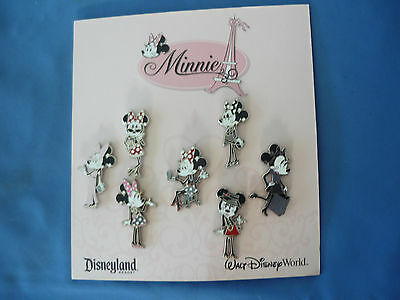 MINNIE IN PARIS  Disney  Pin SET of 7  2012   New on Card