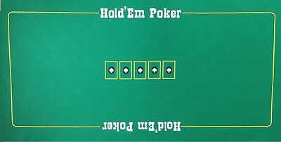 LARGE  TEXAS HOLD EM / POKER FELT - NEW THICK BAIZE LAYOUT 180cm x90cm approx
