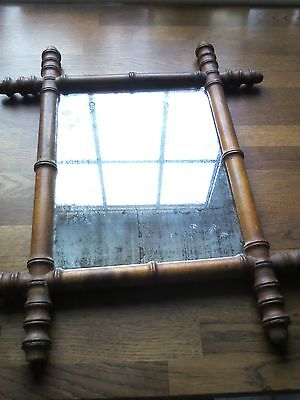 Antique French faux bamboo wall mirror