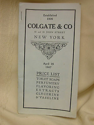 Vintage 1907 Colgate & Co Toilet Soaps New York Price List Perfumery Advertising