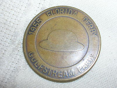 Vintage 1955 Florida Derby Gulfstream Park Good Luck Token Coin Hat Horseshoe