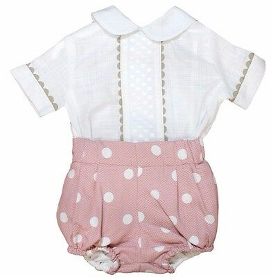 Traditional Spanish Baby Girl Boy Shirt and Shorts Set Pink 12M