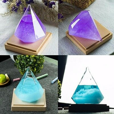 Weather Forecaster Storm Glass Crystal Diamond Shape Ornament Home Decor Gift