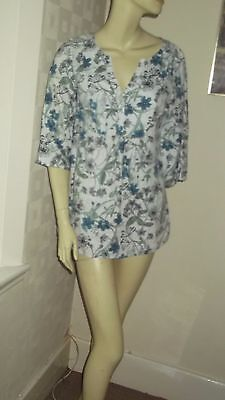 Womens Ladies Laura Ashley Linen Tunic Top Size 8 White/blue/green