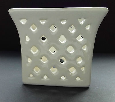 "Creamware pottery SQUARE TRINKET BASKET with pierced patternwork - 3"" tall"