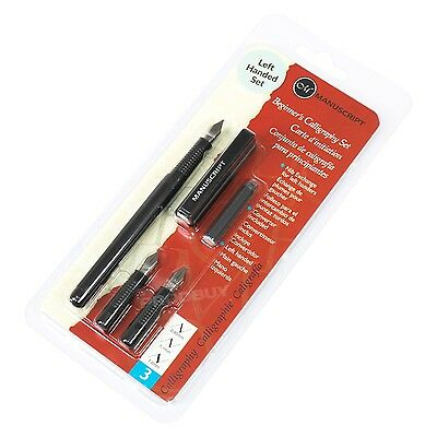 Calligraphy Pen Tin Set Black Ink Cartridges Fine Medium