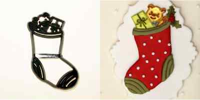 Patchwork Cutters CHRISTMAS STOCKING - Cake Decorating Embosser Cutter
