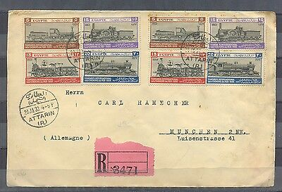 EGYPT- 1933 cover travel to Germany International Railway Congress stamps  2 set