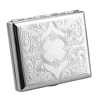 Hard Case Silver Cigarette Holder Push Tobacco Case Tin 20 cig 84mm