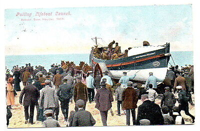 Lifeboat Launch Palling Jarrolds Postcard posted 1905