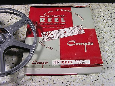 Single Metal 8mm Film Reel - 200 Feet / Compco / Silver in box - Excellent Cond.