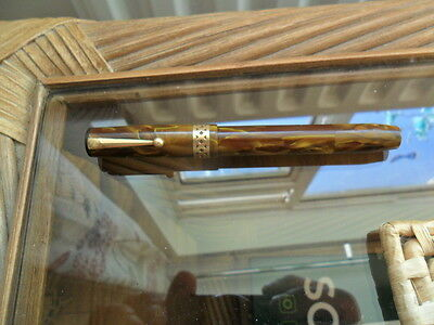 Vintage Swan VISOFIL Mabie Todd Marble Fountain Pen.Mottled. 14CT Gold Nib Rare