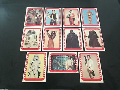Star Wars Series 4 (Green) - Complete Card Sticker Set (34-44) 1977 @ Near Mint