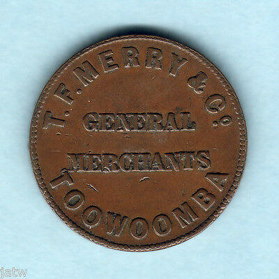 Australia Token.  Merry & Co - 1/2d..  c1860s Toowoomba Qld..  gVF