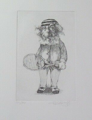 Brilliant Limited Edition Tennis Themed Etching Print by Charles Bragg!