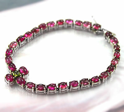 CLOSE OUT 55.7 ct Natural Tourmaline tennis bracelet sterling silver lustrous