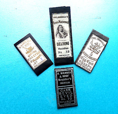 4 Early Victorian Antique Sewing Needle Packets.