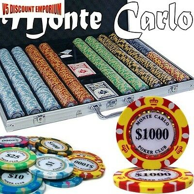 Monte Carlo Poker Chips Casino 1000 Count Set 14 Gram Brybelly w/ Aluminum Case