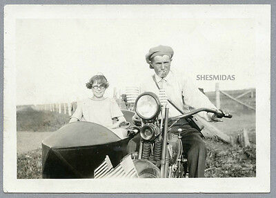 #953 Patriotic Motorcyclists, Girl in a Sidecar, Motorcycle, Vintage 1924 Photo