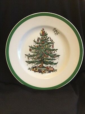 "Spode Christmas Tree Salad Plates 7 3/4"" Made in England S3324"