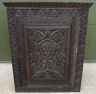 ANTIQUE LATE VICTORIAN CARVED OAK WALL HANGING CORNER CUPBOARD CABINET c.1900