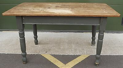 Antique Victorian Scrubbed-Top Solid Pine Farmhouse Kitchen Table Painted Base