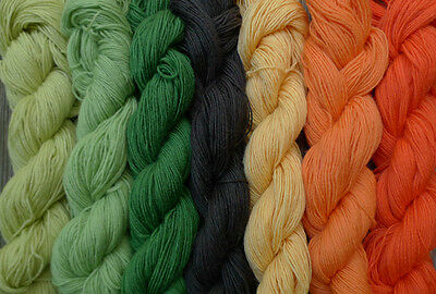 Pure wool  yarn, fingering weight,  7 skeins, 7 colors, 12.5 oz.