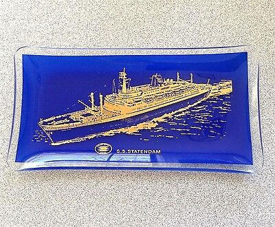Vintage SS STATENDAM Holland America Cruise Ship Souvenir GLASS Portrait TRAY