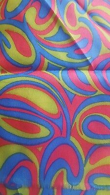 vintage 1970's psychedelic fabric unused