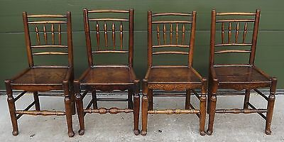 ANTIQUE C18th GEORGIAN HARLEQUIN SET OF FOUR COUNTRY KITCHEN DINING CHAIRS