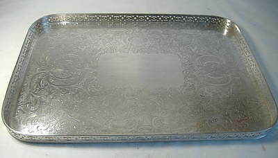 Barker & Ellis Silver Plated Oblong Gallery Tray - 14 Ins.