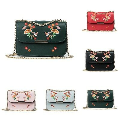 Women Embroidery Metals Chain Bag Leather Shoulder Crossbody Handbag Messenger