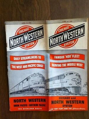 April 1954 CNW Chicago Northwestern Streamliners Schedule Timetable Time Table