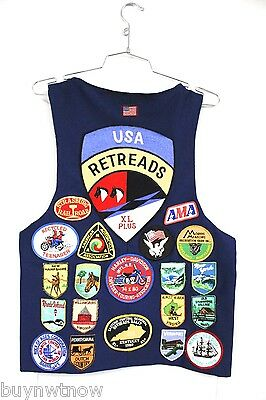 Vintage Retreads Motorcycle Club Vest Harley Davidson Patches 1970s