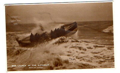 Launch of the Lifeboat Judges Postcard posted Whitby 1914.