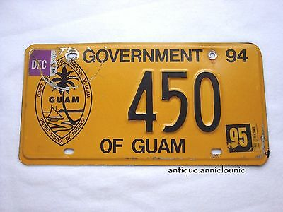 1994 tag 95 GOVERMENT of GUAM License Plate #450