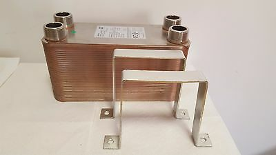 """NEW! 100 Plate Water to Water Plate Heat Exchanger 11/4"""" MPT Ports W/Brackets"""