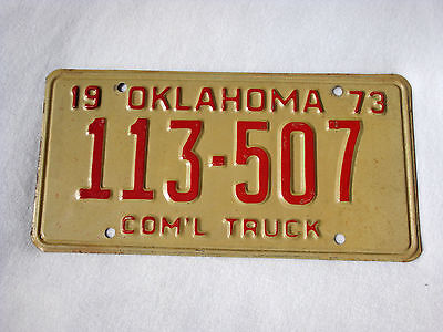 1973 OKLAHOMA Vintage License Plate COMMERCIAL TRUCK #113-507